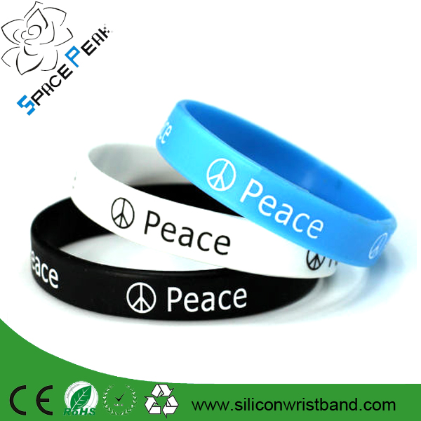 Peace silicone wristband / debossed rubber bracelet / cheap print silicone wristband
