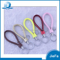 Promotional cheap fashion costom colorful braided rope leather keychain
