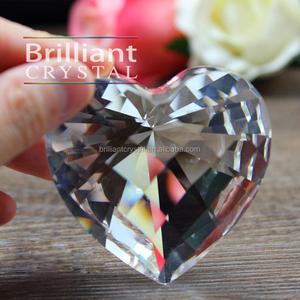 machine cut heart shaped crystal glass stone diamond for paperweight wedding decoration