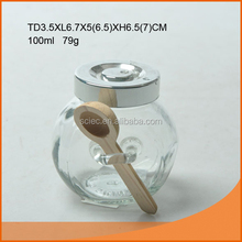 wholesale food glass jar with wood spoon
