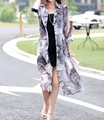 Printed Long chiffon sun-protective clothing with mid sleeve
