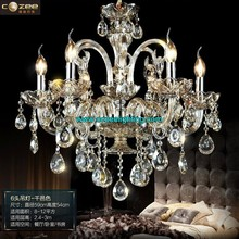 Lobby Cristal Chandeliers Modern Lighting Cognac Colored Glass Chandelier Crystal Hanging Lamp CZ3019/6C