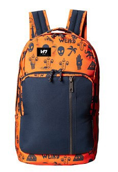 Fancy orange and black laptop backpack with cartoon pattern