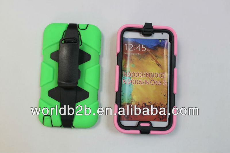 high quality 3 in 1 silicone hard case for Samsung galaxy note 3 N9000, with holster clip