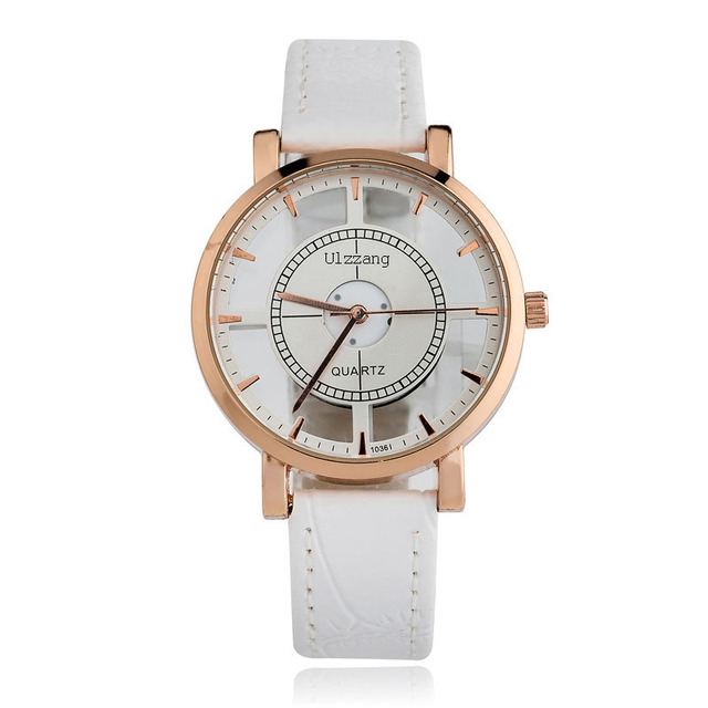 Brand Ulzzang Fashion Women Casual Watch Super Stylish Double Hollow Glass Design Leather Strap Girls Casual Wristwatch