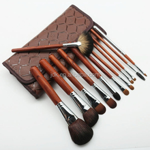 12Pcs Wooden Handle Cosmetic Brush Set with Superior Cosmetic Bag