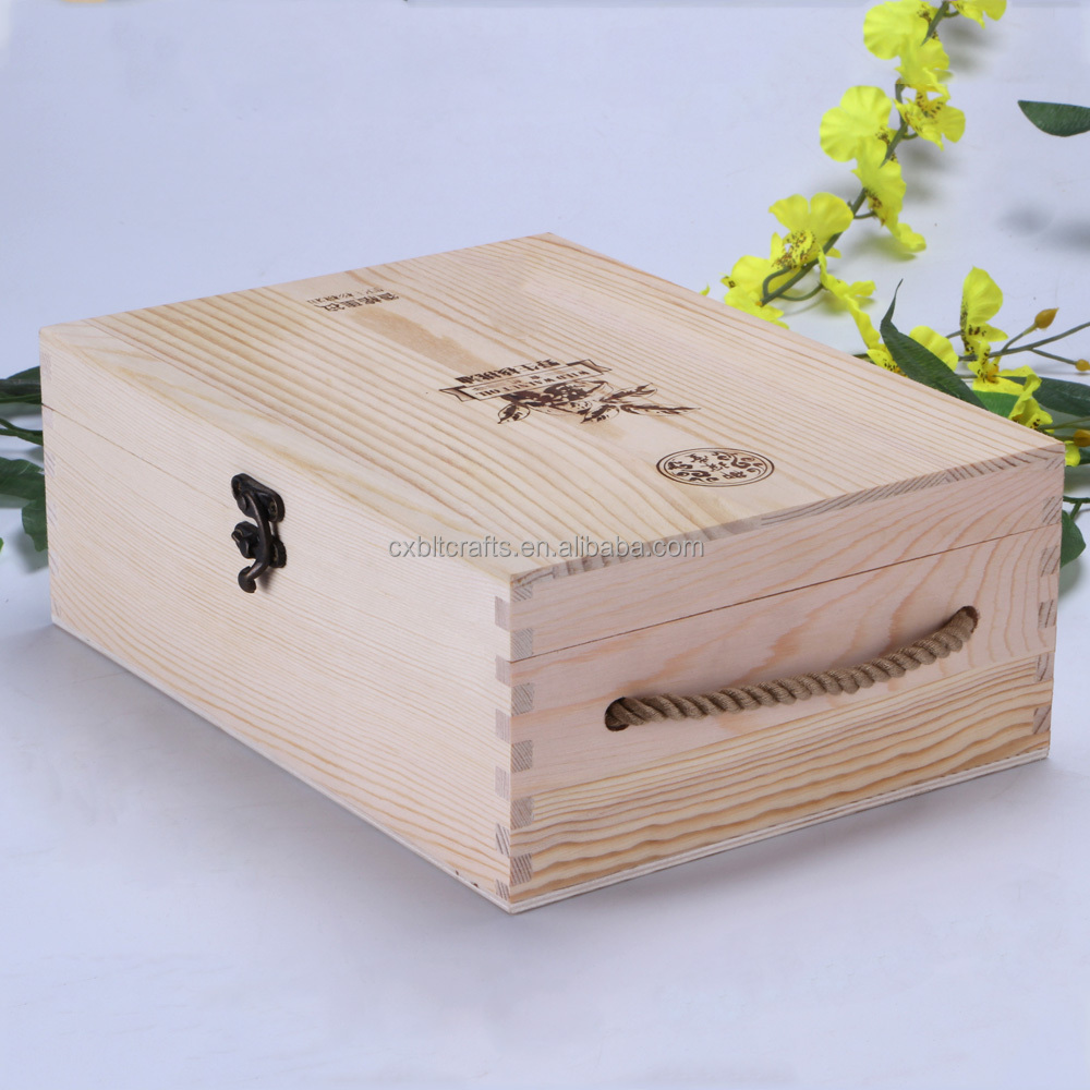 2016 Top quality cheaper pine wooden wine box/ wine case for 2 bottles