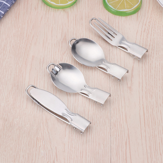 Portable Travle Camping Stainless Steel Folding Fork and Spoon set