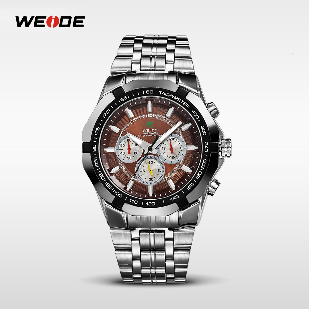 Weide japan movt quartz watch stainless steel rotating dial bezel men's watches high quality