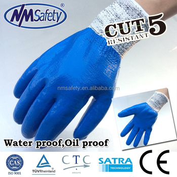 NMSAFETY cut resistant hand gloves/anti-oil nitrile gloves/full nitrile coated cut resistant glove