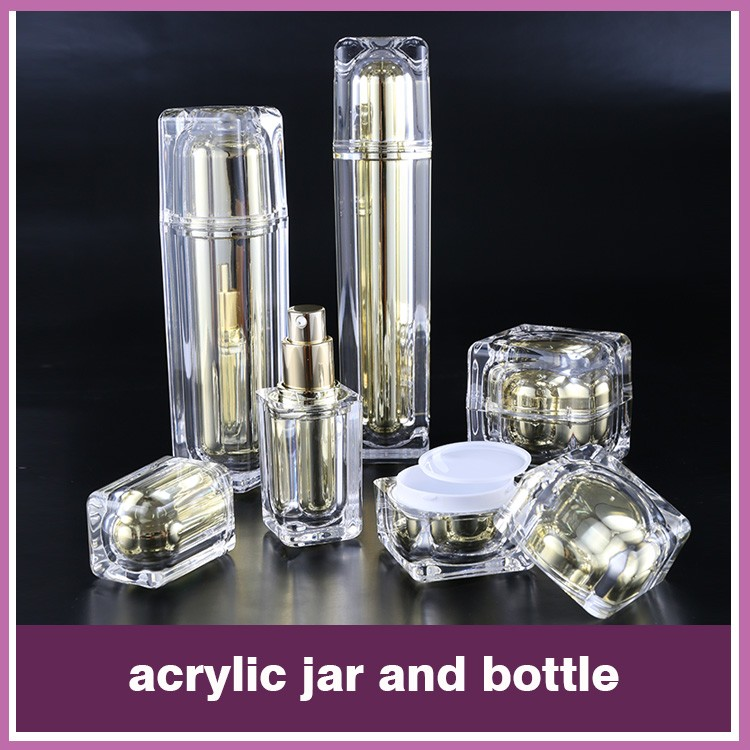 Wholesale skincare plastic acrylic empty golden acrylic plastic packaging jars