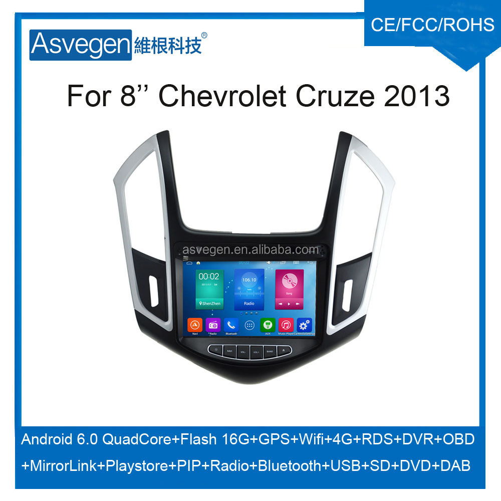 Wholesale Android Car DVD Player For 8'' Chevrolet Cruze 2013 GPS Support Radio Wifi Playstore With Auto Spare Parts Car