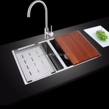 Modern ss handmade double kitchen sink brushed rv custom size 304 stainless steel kitchen sink guangzhou