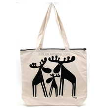 Organic Black Cotton Bag Canvas Tote With Zip