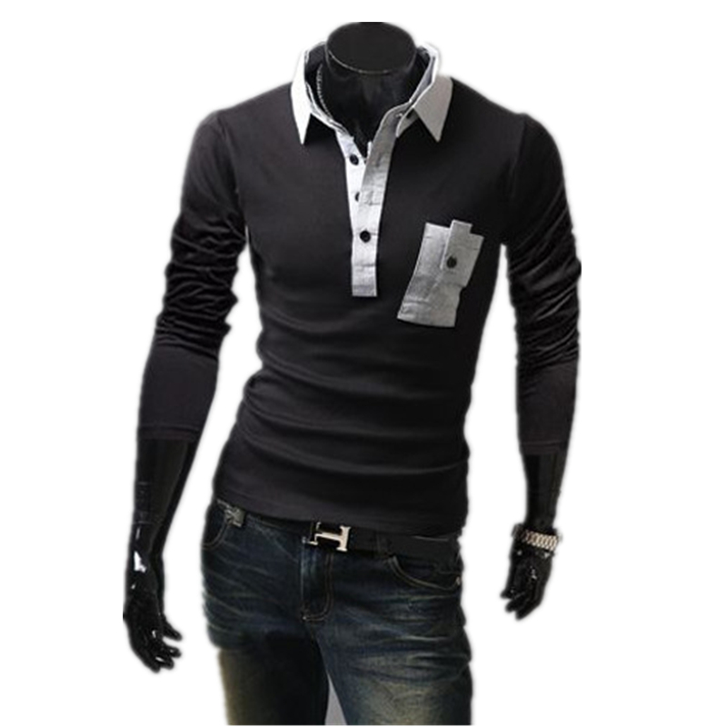 2015 New Arrival Men Summer Style Polo Shirt Long Sleeve Solid Pocket Polo shirt Young Men Clothing V-Neck Cotton polo