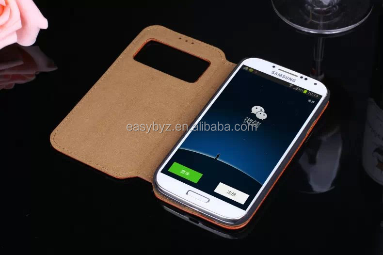 book style premium REAL leather flip case for samsung galaxy s4, for s3 s4 s5 mobile phone leather case