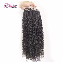 Factory Price Virgin Peruvian Human Hair Kinky Curly Micro Ring Loop Hair Extensions For Blacks,Micro Beads Weft Hair Extensions