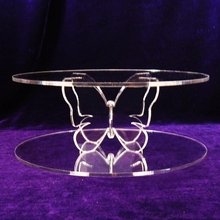 Decorative High Grade Clear Crossed Flower Pillar Mini Acrylic Round Cake Stand