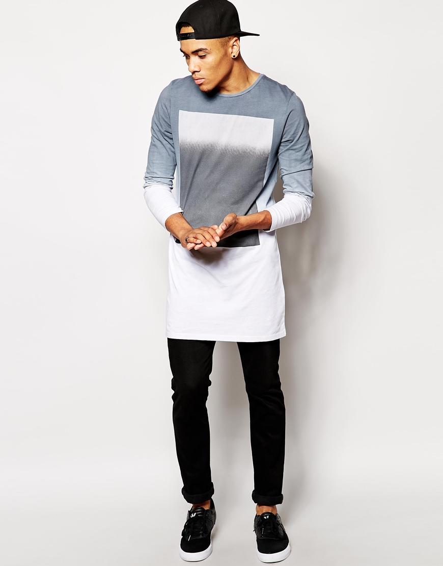 New Design Fashion European Style T-shirt For Men Long Hem ...