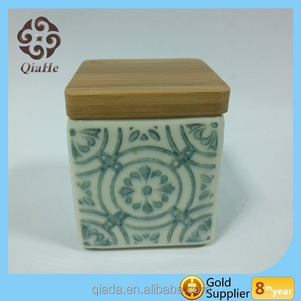 Seal ceramic container cookie jar food canisters with wood lid