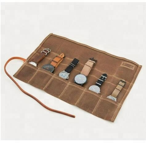 Waxed Canvas Roll Watch case travel Watch packaging box for Holds 6 Watches