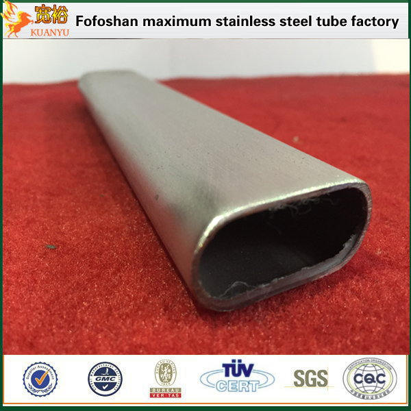 Guangdong fabricate ss316 flat oval stainless steel tube with mirror surface