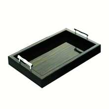 High-end Veneer Wooden Black Leather Serving Tray With Metal Handles Tray Wooden Serving Wholesale Wood Trays