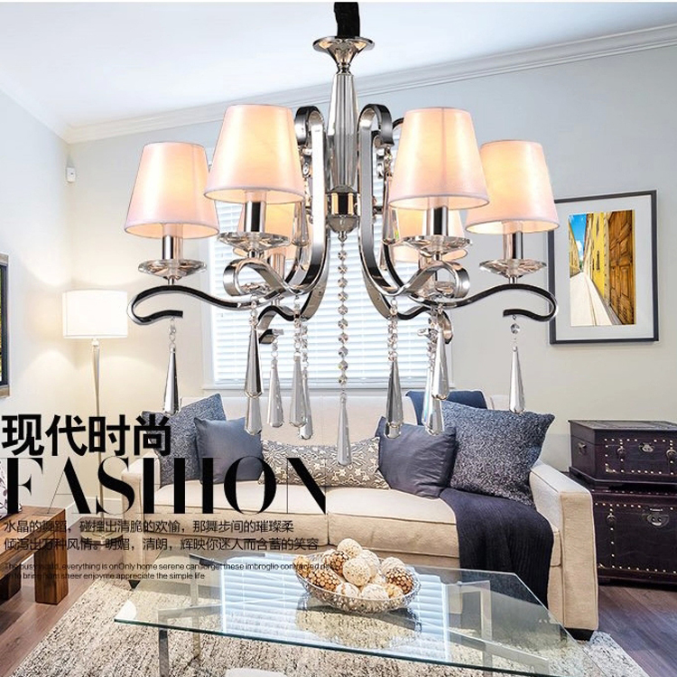 Hot Sale Crystal Light Creative European sitting room the bedroom lamp, wrought iron crystal droplight, candle chandelier