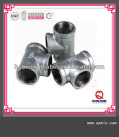 90 degree QXM brand malleable iron tee connecting hydraulic pipe fitting