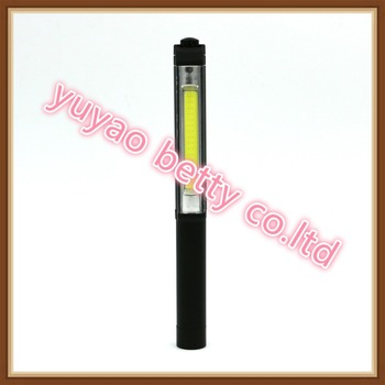 3AAA torch COB high light led Working fiashlight with magnet cilp and base