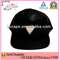 OEM sevice genius/real leather metal plate/logo 5 panel hat