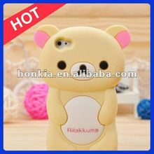 Silicon Case Rilakkuma Bear Phone Case,3d Silicon Animal Case for IPhone4