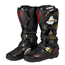 Black Color Riding BootsNew Motorcycle Boots Microfiber Leather Waterproof Motorcross Men Racing Boots