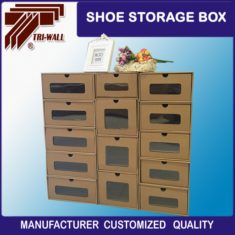 environment Corrugated paper board stackable shoe storage box