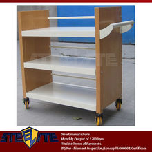 plywood & iron 3 layer bookshelf/book rack shelving library trolley / red beech wood metal rolling 3-tier library book carts
