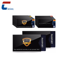 Customized Hot Sales Package in Sets RFID Blocking 10 x Credit Card Sleeve+ 2 x Passport Sleeve Protector