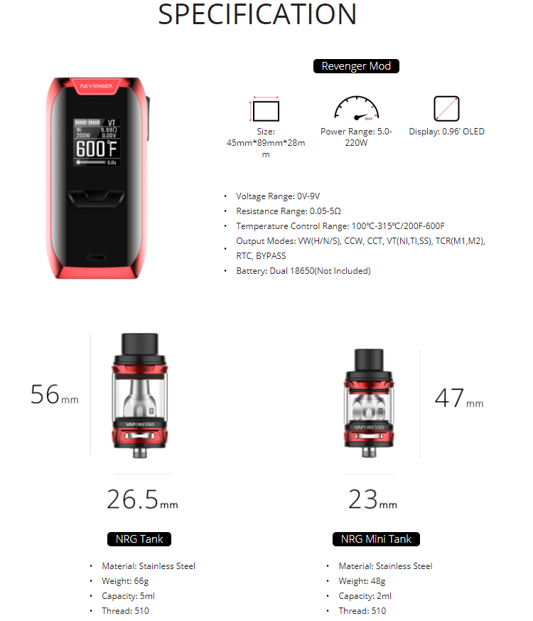 Most Popular Vaporesso Revenger 220W TC Box Mod Kit With NRG Tank