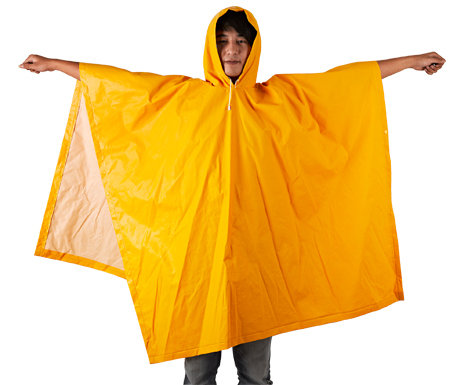PVC Polyester Hooded Rain Coat CE EN388 High Quality Plus Size 0.55mm Thickness Long Poncho