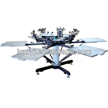 6 color t shirt rotary silk screen printing machine with for Screen printing machine for t shirts for sale