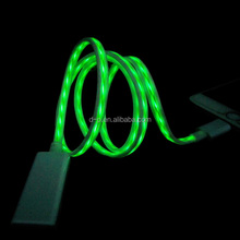 super speed flowing light usb charger cable 1M lumious led light data charger line for smart phone