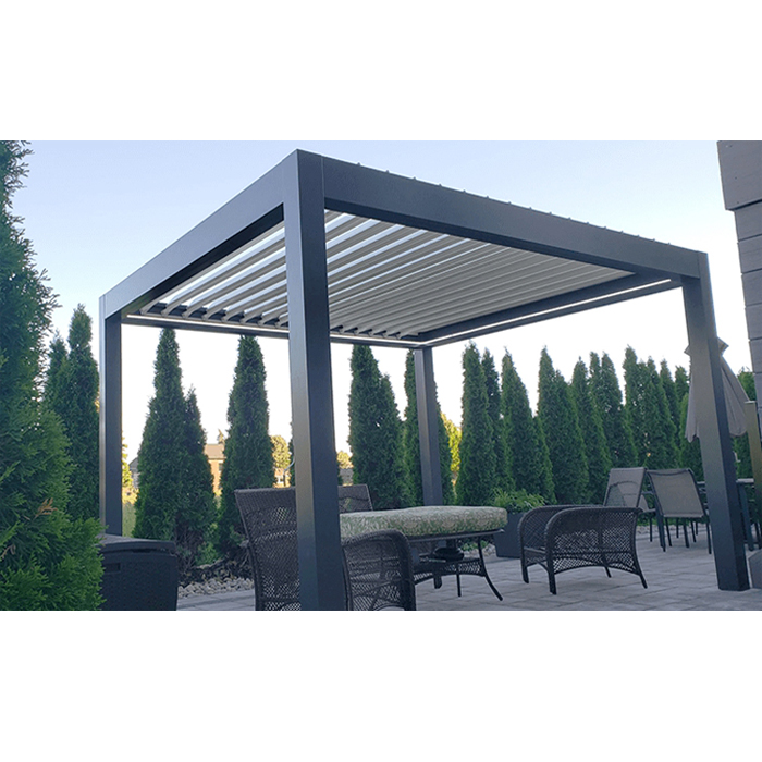 Aluminum Pergola China Lean To Wood Grain Pavilion Outdoor Cheap