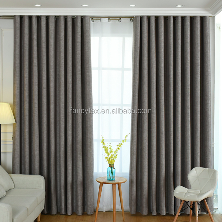 solid curtain fabric customized luxury pure faux linen cotton plain curtain fabric for european liveroom curatin hotel window