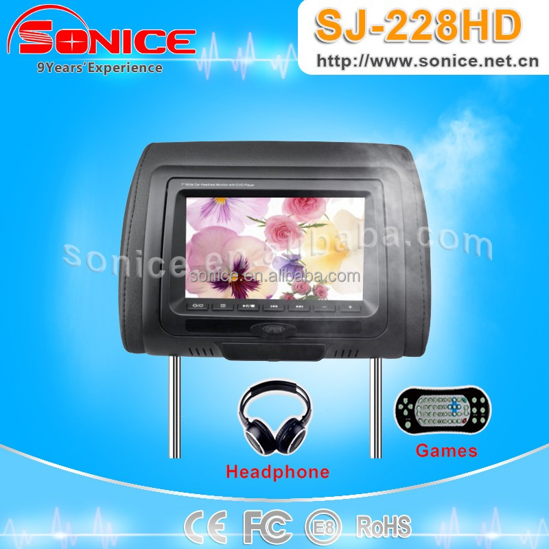 HD 7-inch TFT LCD car active Headrest DVD player with DVD/VCD/CD/CDG/MP4/MP3/WMA/JPEG/DIVX formats