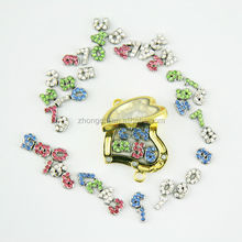 Pretty gold enamel heart locket, numerous number charms for your choice