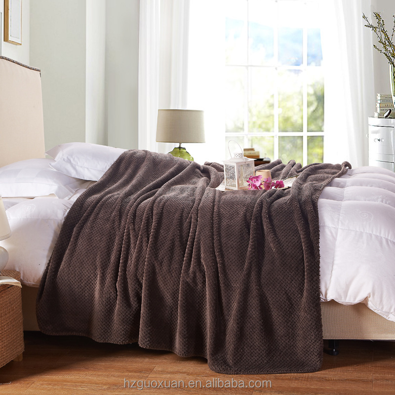 wholesale best price 100% polyester flannel fleece sherpa bed blanket made in china for home and hotel