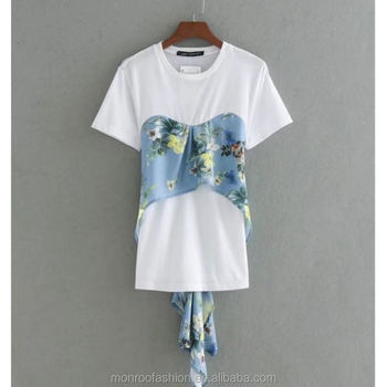 monroo Fashion Women flower print fake two pieces patchwork T-shirt Leasure Summer short sleeve Tees Causal Slim T shirt T013