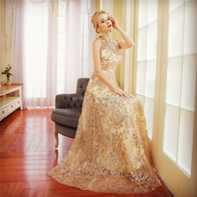 Royal Temperament Lace Handmade Sequins Decoration Sleeveless girl Party Evening Dress