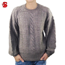 Cambodia Factory Heavy Weight Free Size Casual Grey Man Pullover Cable Knit Sweater