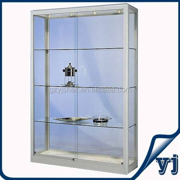 aluminium glass rotating display casewall unit display cabinetwall glass display case with