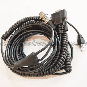DB9 RS232 coiled ethernet cable and wire harness assembly